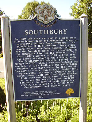 Southbury, Connecticut - Town historical sign on Main Street South