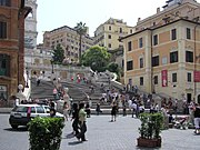 The Spanish Steps, Rome, Italy, seen from Piazza di Spagna. John Keats lived in the house in the right foreground.