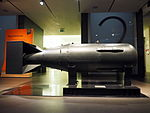 Spare Little Boy atomic bomb casing at the Imperial War Museum in London in November 2015.jpg