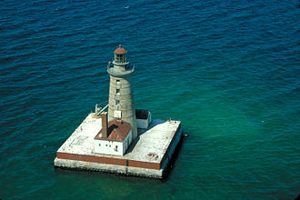 """Crib lighthouse - Spectacle Reef Light rests on a """"crib"""" foundation"""