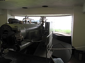 Cork Harbour - A six-inch coastal defence gun on Spike Island protecting the mouth of the harbour.