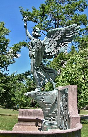 Evelyn Beatrice Longman - Spirit of Victory (1926), Hartford, Connecticut. This photo from 2012 shows the old patina before the monument was refinished.