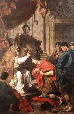 HISTOIRE ABRÉGÉE DE L'ÉGLISE - PAR M. LHOMOND – France - année 1818 (avec images et cartes) 260px-St_Ambrose_Converting_Theodosius