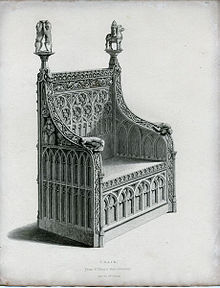 Medieval Chair From St Maryu0027s Hall In Coventry, Period Henry VI/Edward IV.  Drawing By Shaw From Specimens Of Ancient Furniture (1836).