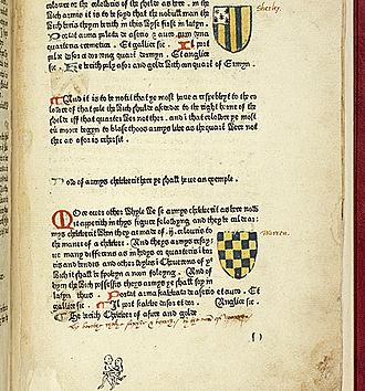 Book of Saint Albans - Colour printing and obscene drawing in pencil added below text; Cambridge University Library