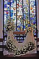 Stained Glass Window and Wedding Veil Exhibit at Flower Festival, St Thomas's Church, N14 - geograph.org.uk - 327730.jpg