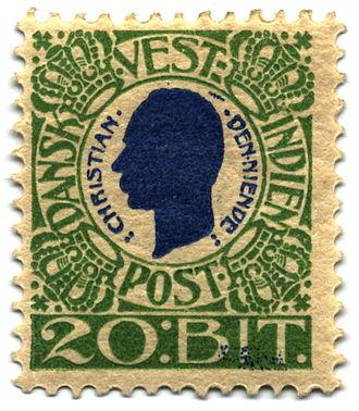 Bit (money) - A 20-bit postage stamp of the Danish West Indies, 1905.