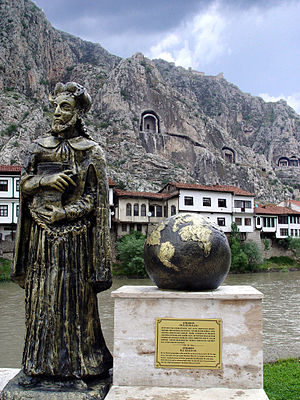 Strabo - Statue of Strabo in his hometown (modern-day Amasya, Turkey), beside the Iris (Yeşilırmak) River