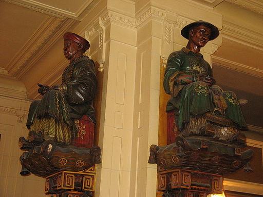 Statues, Les Deux Magots, Paris