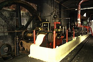Ossett - The steam engine at Runtlings Mill in 1987.