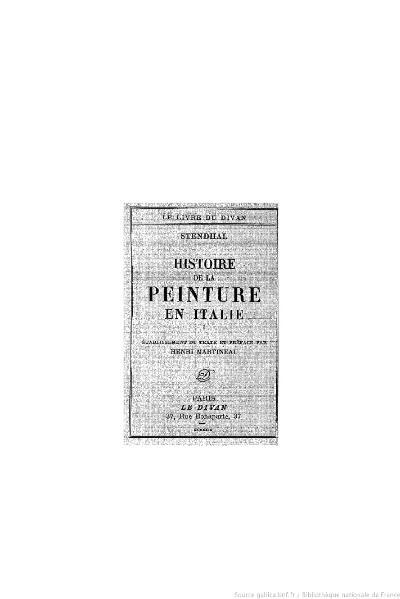 File:Stendhal - Histoire de la peinture en Italie, I, 1929, éd. Martineau.djvu