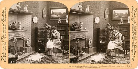 Stereo card of a stereoscope in use (1901). ( ) Stereograph as an educator.jpg
