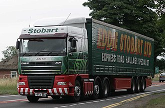Eddie Stobart Logistics - Eddie Stobart truck in the previous green, gold and dark red livery in 2009