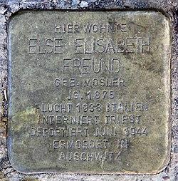Photo of Else Elisabeth Freund brass plaque