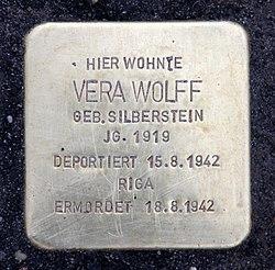 Photo of Vera Wolff brass plaque