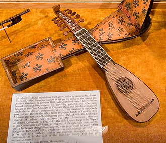 "Mandore (instrument) - A mandolino made in Cremona, Italy, by Antonio Stradivari, c. 1680, one hundred years after the mandore was being labeled ""new"" in France."
