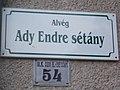 Street sign. - Ady Promenade, Alvég, Gödöllő.JPG