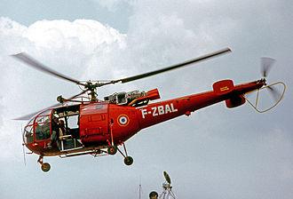 Sécurité Civile - Aérospatiale Alouette III of the Protection Civile demonstrating at Paris–Le Bourget Airport in 1973.