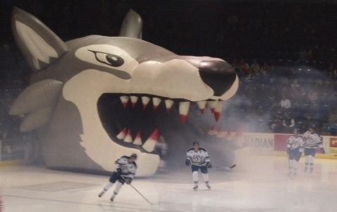 Sudbury Wolves enter through wolf mouth