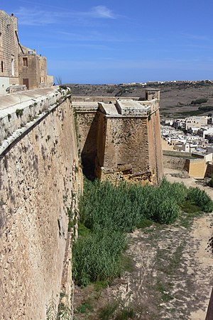 Cittadella (Gozo) - St. John's Bastion and the ditch (before restoration)