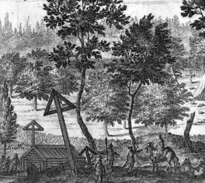 Ingamoder - Ingemo's Well and sacred grove in 1705 according to Suecia Antiqua et Hodierna