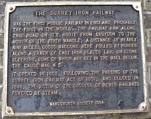 Surrey Iron Railway - Plaque for the Surrey Iron Railway in Wandsworth
