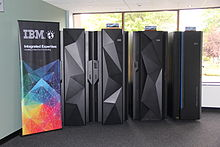 A trio of IBM zEnterprise mainframe computers. From left to right: EC12, BC12, Bladecenter Extension.