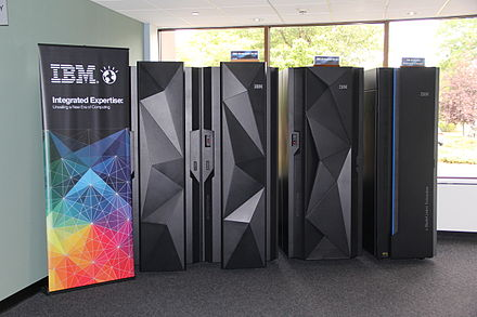 A trio of IBM zEnterprise mainframe computers. From left to right: EC12, BC12, Bladecenter Extension. System z Frames.JPG