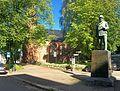 Tønsberg domkirke Norway Svend Foyn statue 2015-09-25 cropped distorted panorama 01.jpg