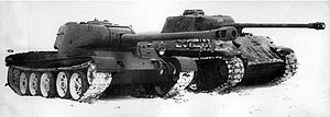 T-44 - T-44-122 prototype during comparative trials against captured German Panther