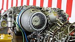T700-IHI-401C turboshaft engine inlet particle separator left rear view at JMSDF Kanoya Air Base April 30, 2017.jpg