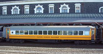 NZR 56-foot carriage - A NZR 56-foot carriage in service for the Dunedin Railways at Dunedin Railway Station