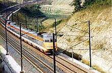 Livrée originelle du TGV Sud-Est en 1987.