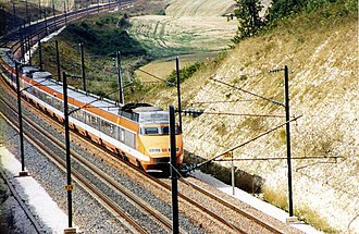 TGV - A TGV Sud-Est set in the original orange livery, since superseded by silver and blue