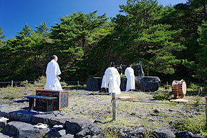Religion in Japan - A ritual at the Takachiho-gawara, the sacred ground of the descent to earth of Ninigi-no-Mikoto (the grandson of Amaterasu).