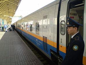 Talgo 200 Tulpar train, Astana rail terminal. Kazakhstan, 2009