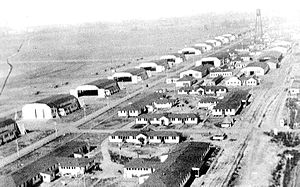 Taylor Field (Airfield) - A 1918 aerial view looking northwest along the amazing number of hangars (16 of them) at Taylor Field