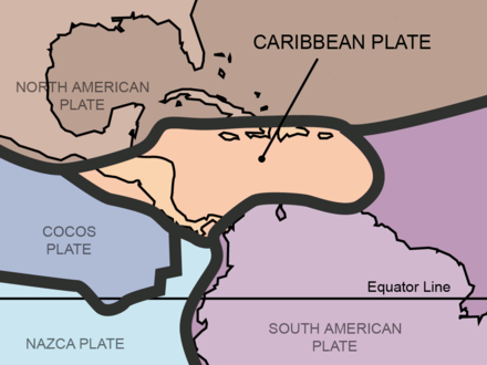 Central America rests in the Caribbean Plate. Tectonic plates Caribbean.png