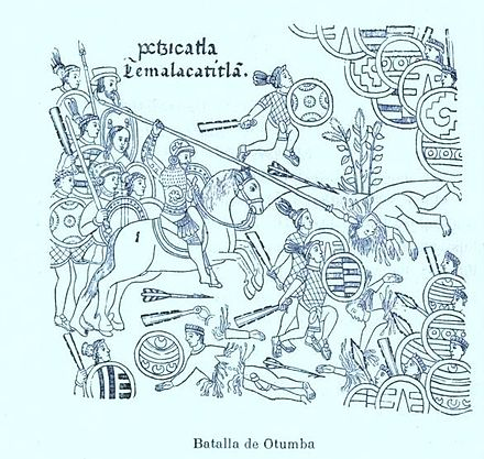 A page from the Lienzo de Tlaxcala, showing a battle of Otumba. Temalacatitlan - batalla de Otumba.jpg