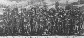 Togarmah - Thargamos and his sons. The order of the figures from left to right is: Movakan, Bardos, Kartlos, Haos, Lekos, Thargamos, Caucas, Egros. An opening folio of the Georgian Chronicles (Vakhtangiseuli redaction), 1700s.