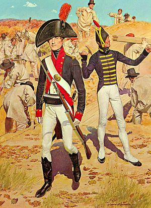 United States Military Academy - Artillery cadet 1805, in the mixture of commissioned and non-commissioned uniforms prescribed for cadets of artillery.