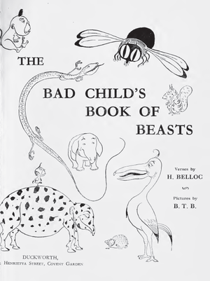 The Bad Child's Book of Beasts - Cover of the 1918 edition