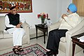The Chief Minister of Himachal Pradesh, Sh. Prem Kumar Dhumal meeting the Deputy Chairman, Planning Commission, Shri Montek Singh Ahluwalia for finalizing annual plan 2012-13 for the State, in New Delhi on March 23, 2012.jpg