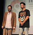 The Director Shekhar Kapur and Actor Sushant Singh Rajput at the Master Class, during the 48th International Film Festival of India (IFFI-2017), in Panaji, Goa on November 26, 2017.jpg