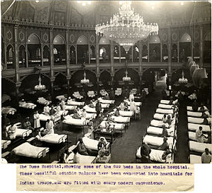 Royal Pavilion - Hospital beds at the Dome during the First World War