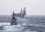 The Kora-class corvette INS Kora (P 61) steams behind the guided-missile cruiser USS Princeton (CG 59) and the aircraft carrier USS Nimitz (CVN 68) during Malabar 2017.jpg