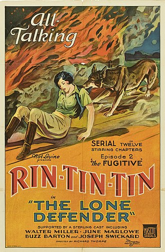 Rin Tin Tin - Poster for Rin Tin Tin's first Mascot serial, The Lone Defender