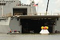 The Orion capsule is brought aboard USS Arlington. (9526245506).jpg