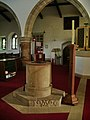The Parish Church of St Oswald, King and Martyr, Warton, Carnforth, Font - geograph.org.uk - 846420.jpg