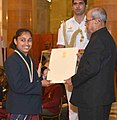 The President, Shri Pranab Mukherjee presenting the Rajiv Gandhi Khel Ratna Award to Ms. Dipa Karmakar for Gymnastics, in a glittering ceremony, at Rashtrapati Bhavan, in New Delhi on August 29, 2016.jpg